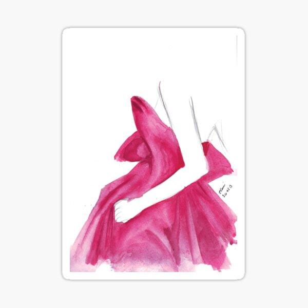 Watercolour & Ink Fashion Illustration Titled Marchesa Sticker