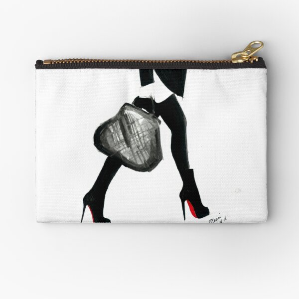 Watercolour & Ink Fashion Illustration Titled I Love Louboutin Zipper Pouch