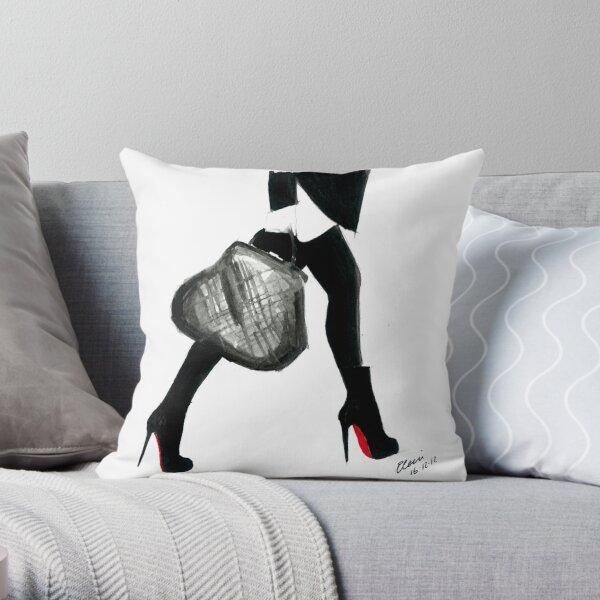 Illustration de mode aquarelle et encre intitulée J'aime Louboutin Coussin
