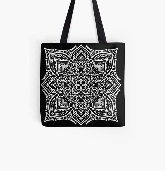 Black and White Geometric Tile Mandala All Over Print Tote Bag