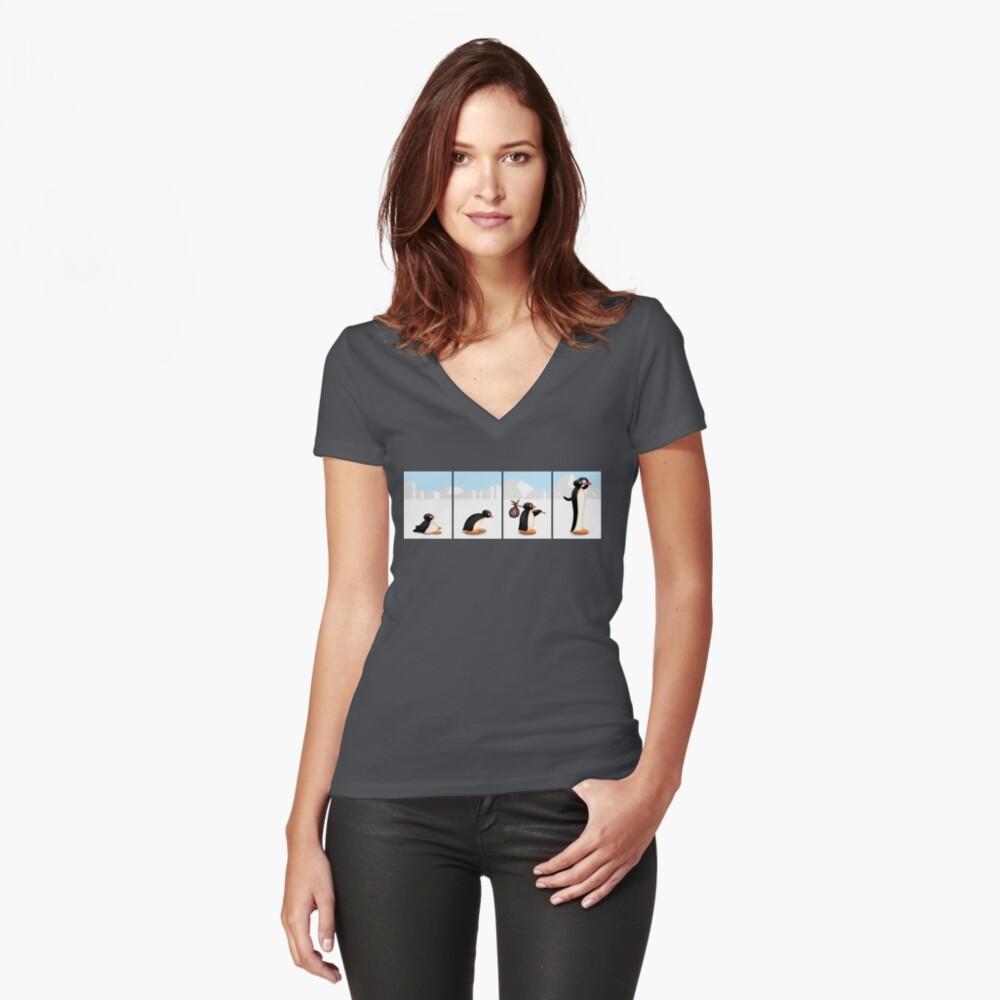 Die Pinguin-Evolution Tailliertes T-Shirt mit V-Ausschnitt