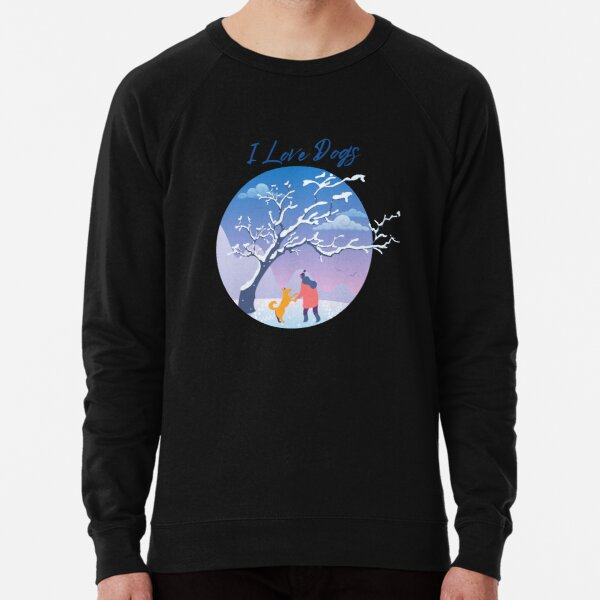 Winter - Woman walking her dog Lightweight Sweatshirt