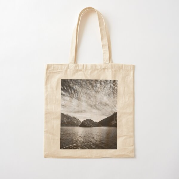 Adventure Cruise at Doubtful Sound in black and white Cotton Tote Bag