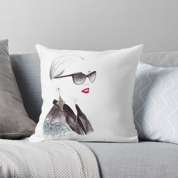 Watercolour & Ink Fashion Illustration Titled In Dior Throw Pillow