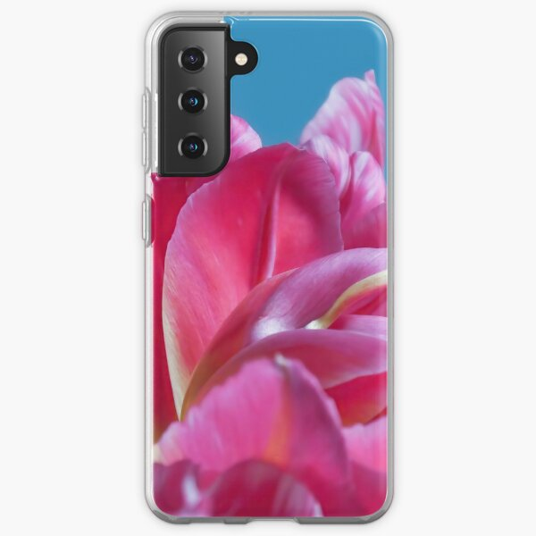 Pink Parrots Tulips petals close up II Samsung Galaxy Soft Case