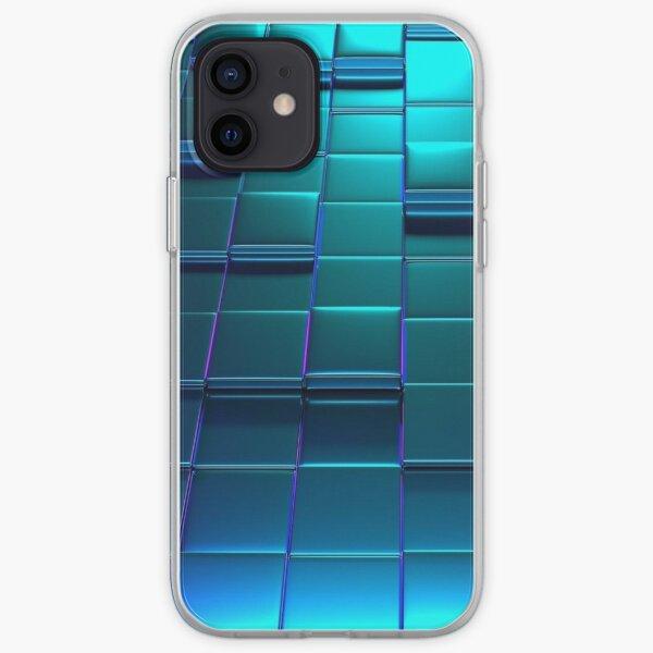 Cube Purple Blue Squares Pattern iPhone Soft Case