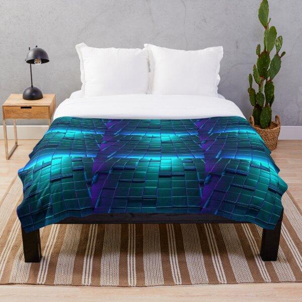 Cube Purple Blue Squares Pattern Throw Blanket