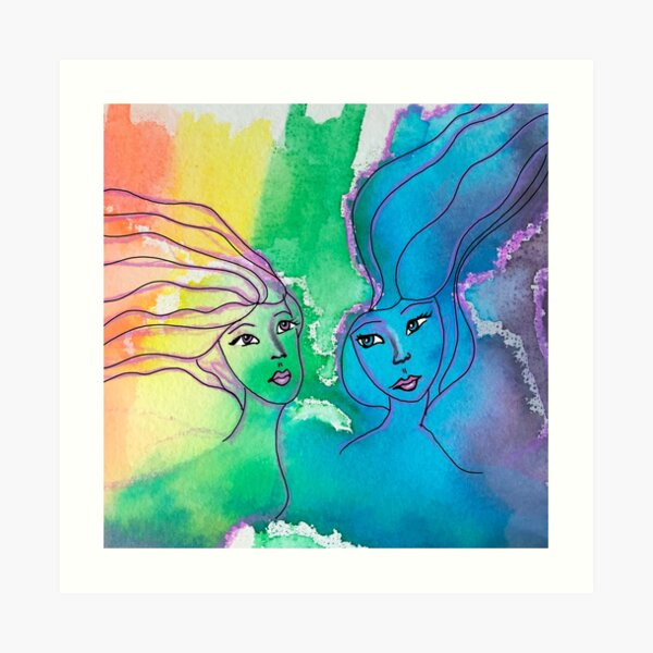 Sisters Water color Art Print