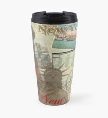 Taza de viaje Vintage New York City Travel Collage Statue of Liberty