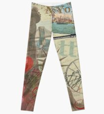 Legging Vintage New York City Travel Collage Statue of Liberty