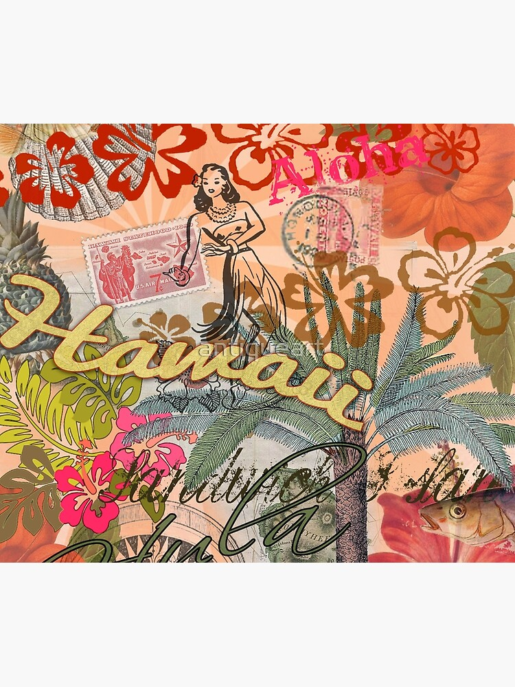 Vintage Hawaii Travel Collage tropical hawaiano colorido de antiqueart