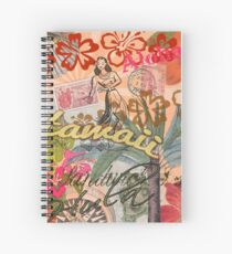 Vintage Hawaii Travel Colorful Hawaiian Tropical Collage Spiral Notebook