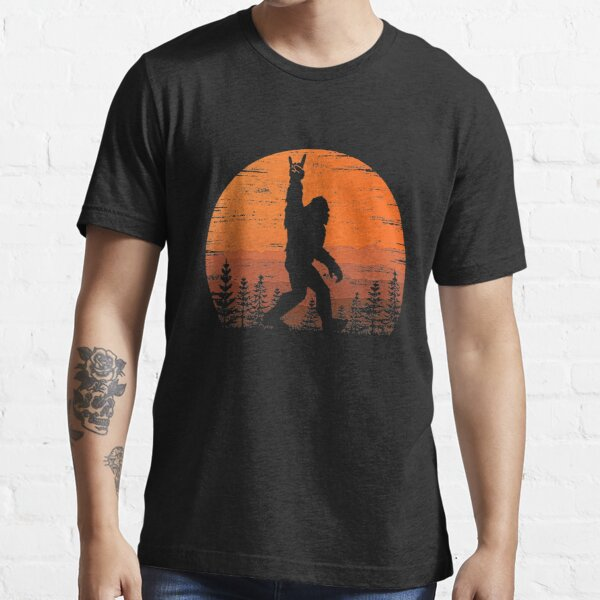Funny Retro Bigfoot Rock Roll Shirt Forest Sasquatch Believers Birthday T-Shirt Essential T-Shirt