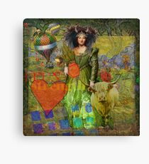 Vintage Taurus Gothic Whimsical Collage Woman Surreal Canvas Print