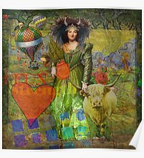 Vintage Taurus Gothic Whimsical Collage Woman Surreal Poster