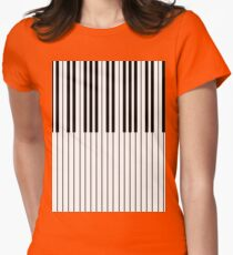 The Piano Black and White Keyboard Stripes with Vertical Stripes Womens Fitted T-Shirt