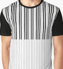 The Piano Black and White Keyboard Stripes with Vertical Stripes Graphic T-Shirt