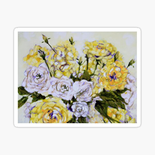 A Beautiful Bouquet of Yellow and White Roses Sticker
