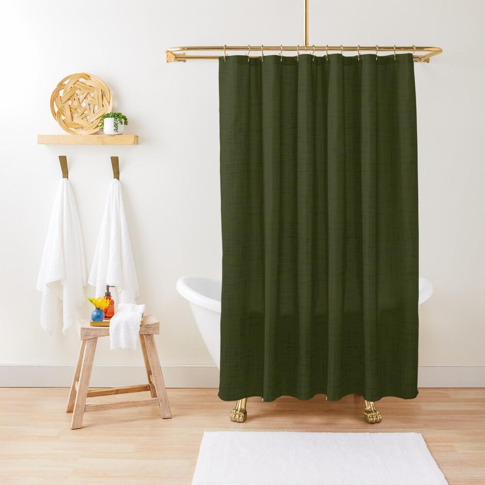 Dark olive textured. Shower Curtain