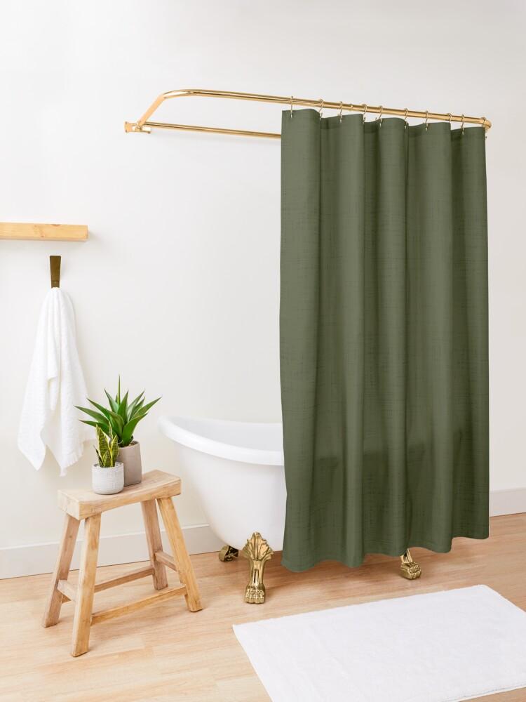 Alternate view of Dark olive textured. Shower Curtain