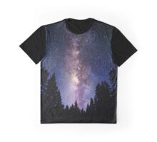Starry Night Forest - Galaxy Stars Graphic T-Shirt