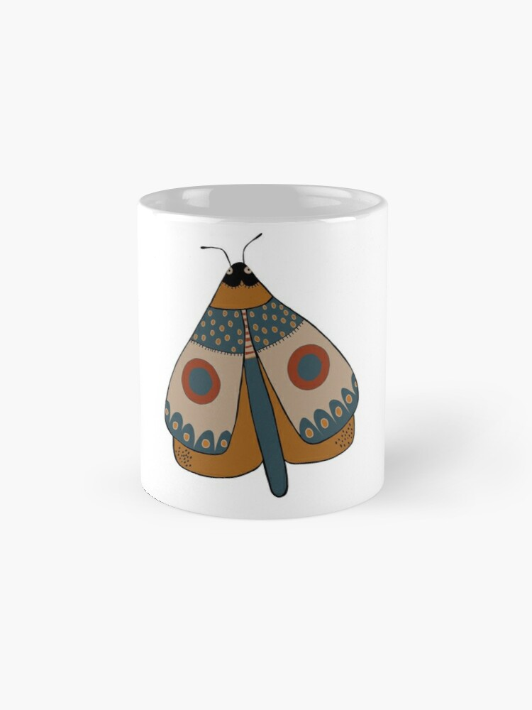 Alternate view of colorful moth digital drawing Mug