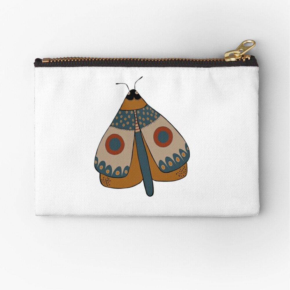 colorful moth digital drawing Zipper Pouch