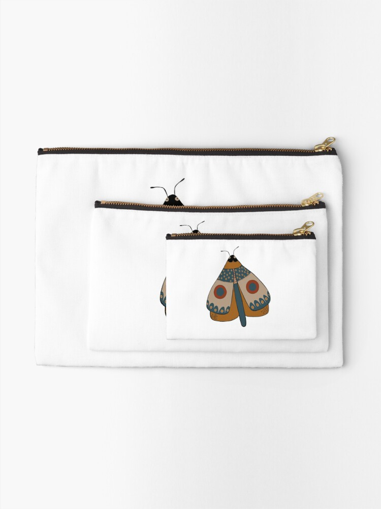 Alternate view of colorful moth digital drawing Zipper Pouch