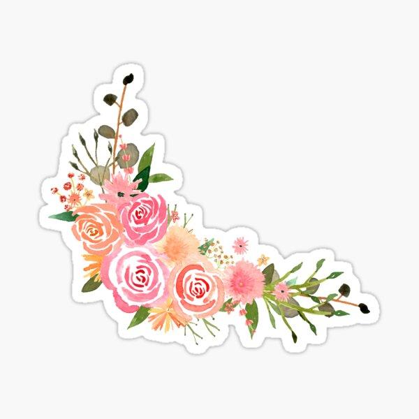 Multicoloured Watercolour Corner Flower Bouquet Sticker