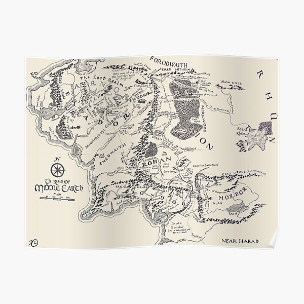 the lord of the rings map, the realm of middle earth map Poster