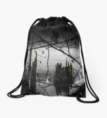 Peering out from the Wood Drawstring Bag