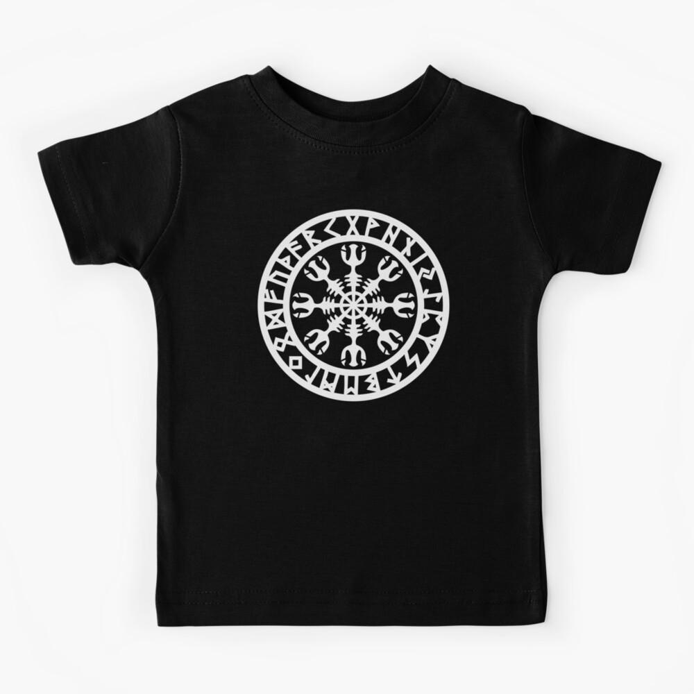 Aegishjalmur, Helm of Awe, Runes, Nordic, Viking, Symbol Kids T-Shirt