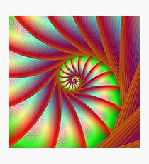 Staircase Spiral in Orange Blue and Green Photographic Print