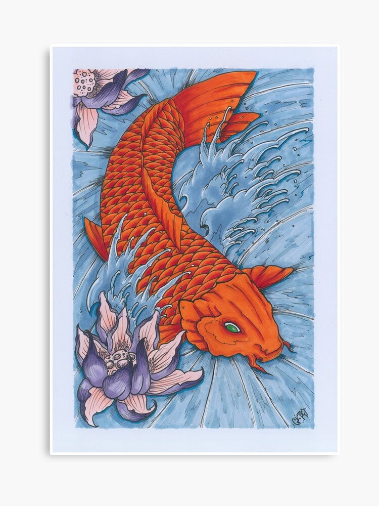 Traditional Japanese Irezumi Koi Fish With Lotus Flower Canvas Print