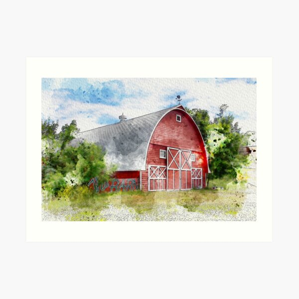 The Rustic Old Red Barn, Watercolor Art Print