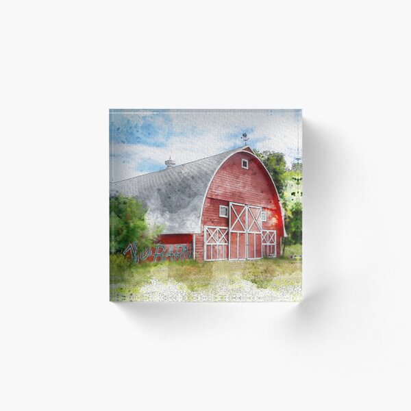 The Rustic Old Red Barn, Watercolor Acrylic Block