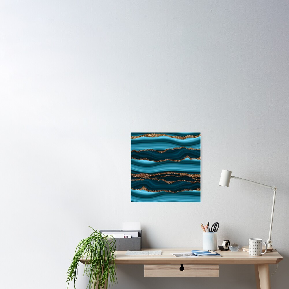 Abstract Teal Blue And Gold Marble Strokes Poster