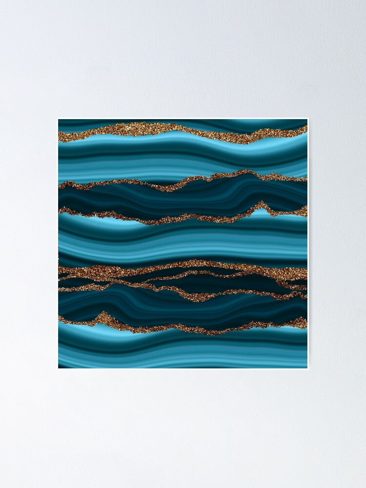 Alternate view of Abstract Teal Blue And Gold Marble Strokes Poster