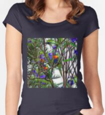 Abstract Beautiful Rainbow Lorikeets Women's Fitted Scoop T-Shirt