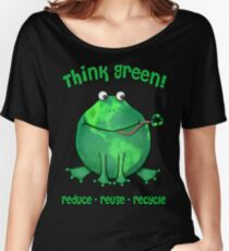 Think Green Frog Environment T-Shirt Women's Relaxed Fit T-Shirt