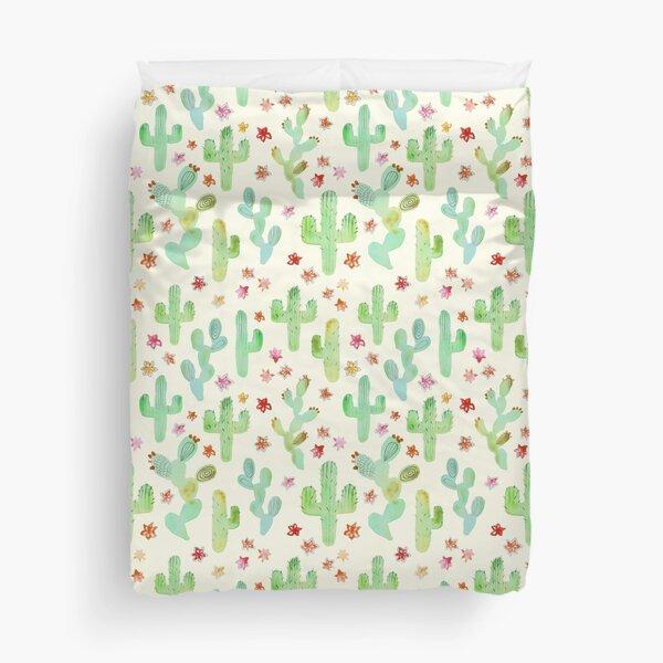 Watercolor Cacti Duvet Cover