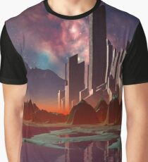 Futuristic Alien City - Computer Artwork Graphic T-Shirt