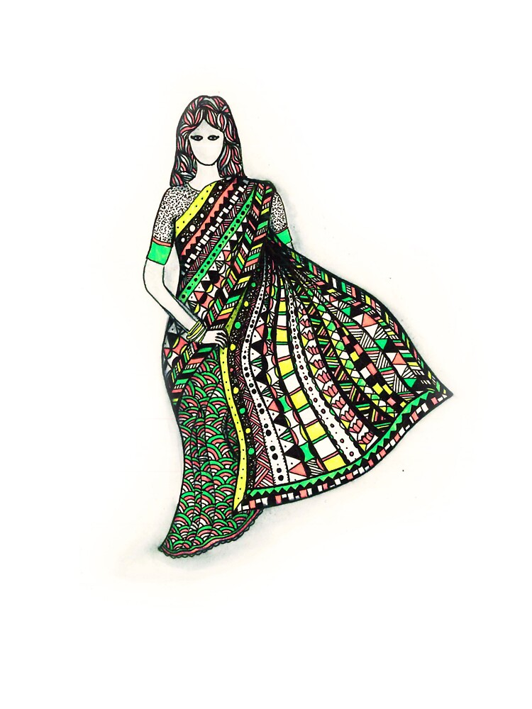 Indian Woman With Sari Kids T Shirt By Marianabeldi Redbubble