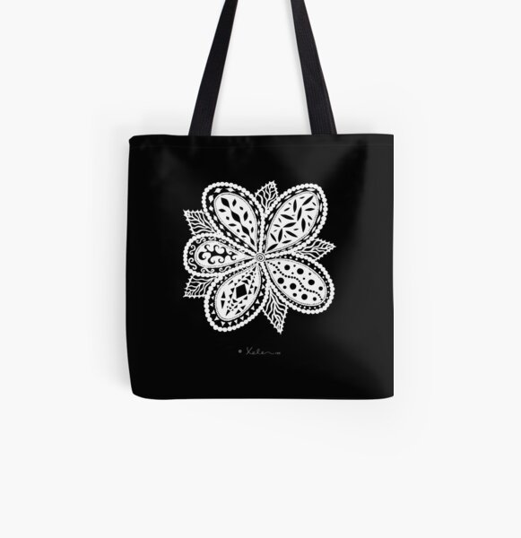 Magic Flower White Allover-Print Tote Bag