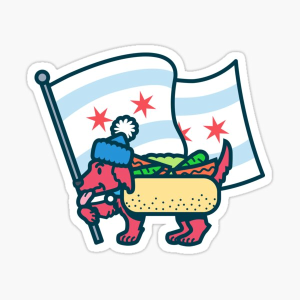 Chicago Dog with Flag Sticker