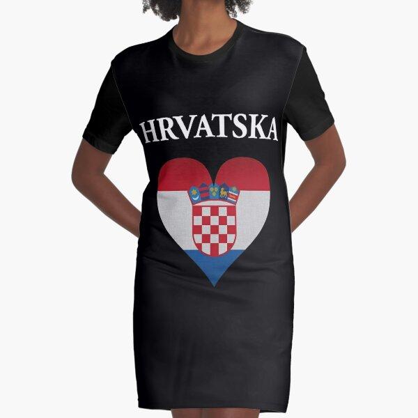 Croatia Hrvatska Country Heart Flag Gift Graphic T-Shirt Dress