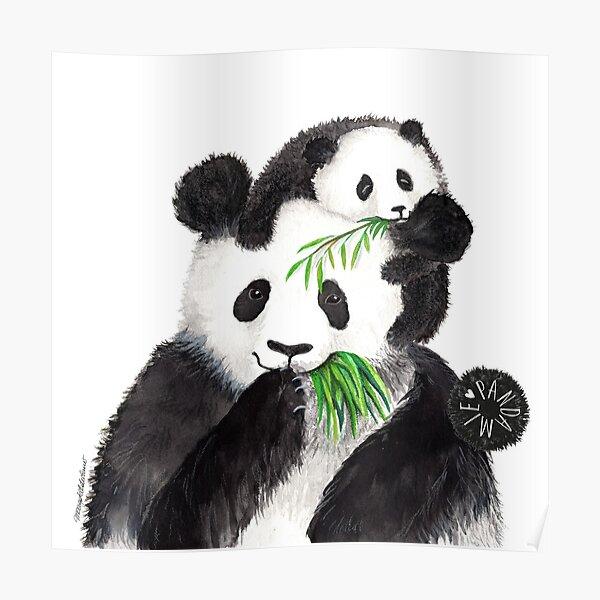 Pandamie_Pandas with bamboo snack Poster