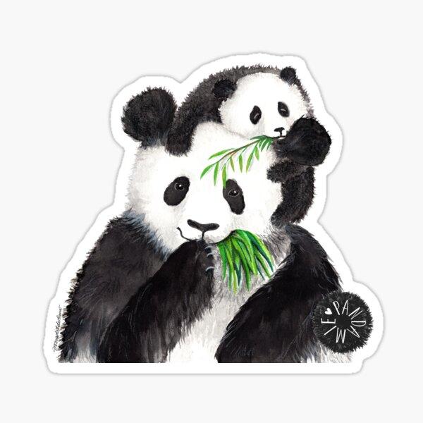 Pandamie_Pandas with bamboo snack Sticker