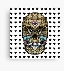 Love Hearts Skull 2  Death Goth Dark Green Halloween Dead Day Canvas Print