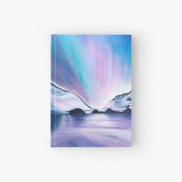 Northern Lights Acrylic painting by Linda Sholberg Hardcover Journal